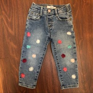 Skinny jeans with pompom detail size 18-24 months